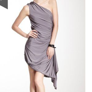 L.A.M.B One Shoulder Asymmetrical Dress Grey Small